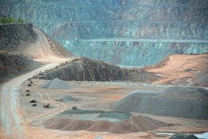 view into an open pit mine. quarry. mining industry.